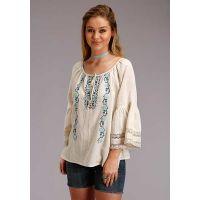 Karman Roper White Cotton Peasant Womens Blouse 03-050-0565-2043 WH