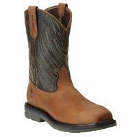 10014229 Brown Maverick Wide Square Toe Mens Ariat Western Work Boots