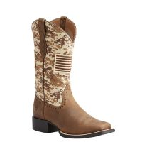 Ariat Distressed Brown Round Up Patriot Western Boots 10023368