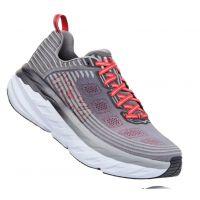 Hoka Alloy/Steel Gray Bondi 6 Cushioned Mens Athletic Running Shoes 1019269