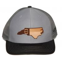 Richardson Grey with Black Mesh Back Trucker Ball Cap with Leather NC State Outiline 112-GRCHB-NCHP