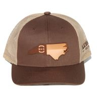 Richardson Brown with Khaki Mesh Back Trucker Ball Cap with Leather NC State Outiline 115-BNK-NCHP