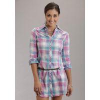 Karman Roper Pink Mardi Gras Plaid Stetson Ladies Collection Shirt Dress 1157565444PI