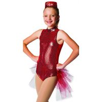 504TS Short Net Bustle With Silver Sequin Trim Child