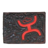 Hooey Brown/Red Signature Tooled Leather Bi-Fold Wallet 1564161W1