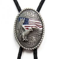 22612 Antique Silver-Tone Eagle and Flag M&F Western Bolo Ties