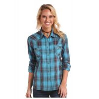 Panhandle Slim Turquoise & Maroon Plaid Snap Up Western Shirt 22S2871
