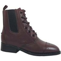 Brown Lace-Up With Elastic Gores Riding Heel Kids Paddock Boots