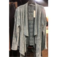 New Direction Dark Blue Womens Long Sleeve Chennile Lace Back Cardigan 32198BL