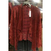 New Direction Red Womens Long Sleeve Chennile Lace Back Cardigan 32198BL