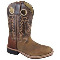 Smoky Mountain Children's Jesse Brown Distress/Brown Crackle Leather Square Toe Boots 3662