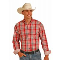 Panhandle Long Sleeve Snap Red Plaid Shirt 36S2016