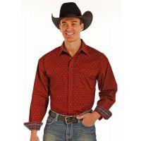 Panhandle Slim Long Sleeve Poplin Print Red Snap Mens Shirt 36S3088