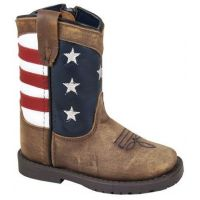Smoky Mountain Boots Children's Vintage Brown Leather Stars and Strips Square Toe Boots 3800