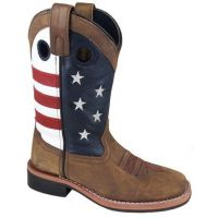 Smoky Mountain Children's Stars and Stripes Vintage Brown Leather Square Toe Boot 3880