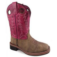 Smoky Mountain Tracie Brown and Pink Leather Childrens Square Toe Boot 3920C