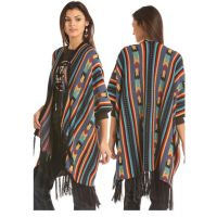 Panhandle Slim Rock & Roll Cowgirl Aztec Print Poncho with Fringe 46-2892