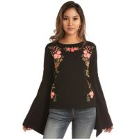 Rock & Roll Cowgirl Black Multi Womens Bell Sleeve Top with Floral Puff Print 48T-2875-01