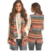 Panhandle Slim Vest With Allover Stripe Print 49V2904