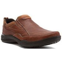 Clarks Wave Post Brown Leather Slip-On Ortholite Mens Comfort 66190