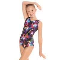 Eurotard Girls Metallic Graffiti Gymnastics Leotard 7589C