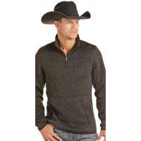 Panhandle Slim Black Powder River Solid Long Sleeve 1/4 Zip Pullover 91-2654