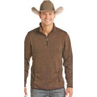 Panhandle Slim Brown Powder River Solid Long Sleeve 1/4 Zip Pullover 91-2654
