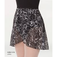 Body Wrappers Curly O's Adult Short Tapered Print Classic Wrap Skirt 980