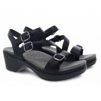 Dansko Sacha Black Burnished Calf Womens Adjustable Strap Sandals 9851-020200