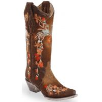 Corral Floral Embroidered Lamb Leather Womens Snip Toe Western Boots A3597