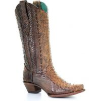 Corral Tan Handcrafted Python Womens Western Snip Toe Boots A3659