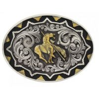 Montana Attitude End of The Trail Silver with Gold Trim Buckle A520