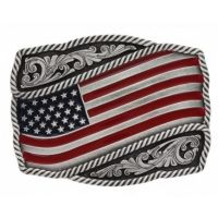 Montana Silversmith Classic Painted Waving American Flag Attitude Buckle A590P