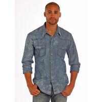 Rock and Roll Cowboy Solid Long Sleeve Snap Mens Shirt B2S1268