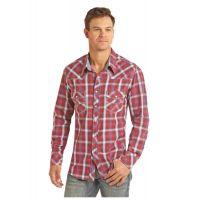 Panhandle Slim Crinkle Washed Herringbone Plaid Mens Long Sleeve Shirt B2S2318