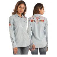 Panhandle Slim Denim And Lurex Stripe Snap Shirt B4S1183