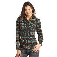 Rock & Roll Cowgirl Black Women's Aztec Print Snap Shirt B4S2304