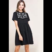 Baevely Black Embroider Detail Open Back Womens Dress BD4028