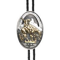BOL122 Men's Andwest Two-Toned End of Trail Bolo Tie