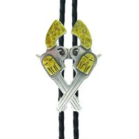 BOL128 Cut Out Crossed Pistols AndWest Bolo Ties