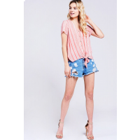Baeverly Coral Stripe Button Down Womens Top BT2139