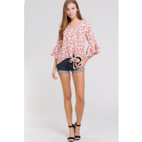 Beavely Red Floral Front Tie Womens Top BT2185