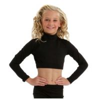 Body Wrappers Black BW ProWear Long Sleeve Turtleneck Midriff Pullover BWP006