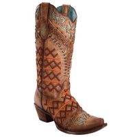 Corral Straw Inlay Embroidered Stud Snip Toe Womens Western Boots C3284