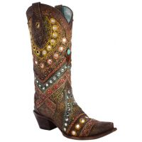 Corral Studded & Embroidered Womens Snip Toe Western Boots C3395