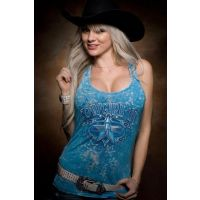 Sidran Cowgirl Up Shooting Star Womens Tank Top CG1777