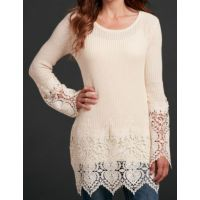 Cowgirl Up by Sidran Cream Long Sleeve Sweater Knit Womens Top with Lace Cuffs and Hem CG80108