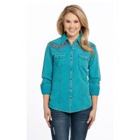 Cripple Creek Sidran Turquoise Long Sleeve Womens Vintage Wash Woven Shirt CG80803