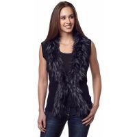CR13253 Cripple Creek Womens Black Knit Sweater Vest w/ Faux Fur Trim