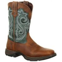 Durango Brown and Everygreen Lady Rebel Womens Waterproof Western Boot DRD0312